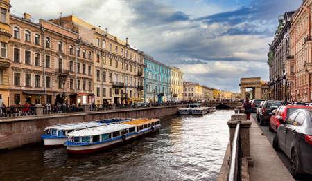 St. Peterburg. Russia. River in Saint Petersburg Russia. Saint Petersburg with its buildings.
