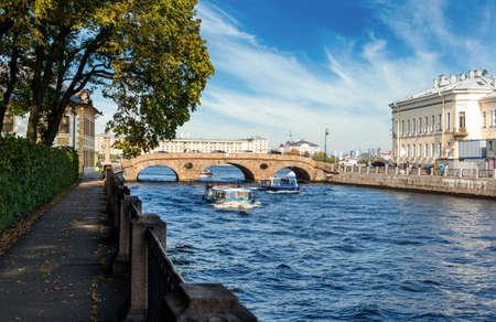 Embankment of the Fontanka river in Saint-Petersburg.
