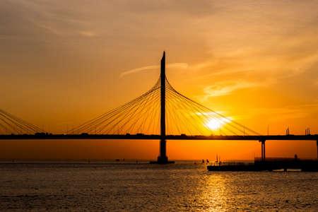 New bridge on a sunset. Saint Petersburg. Russia.