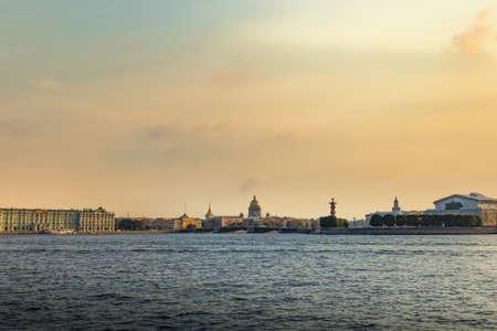 Neva river in Saint Petersburg. Russia. Autumn day.