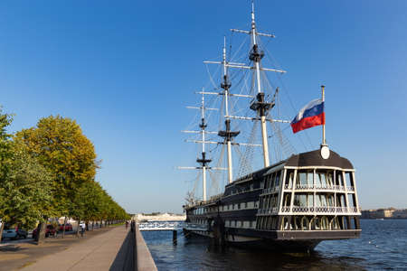 Old ship on a Neva river in Saint Petersburg. Russia.