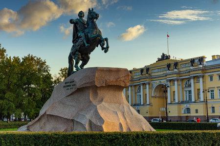 View of the statue of the Bronze Horseman in Saint Petersburg. Russia.