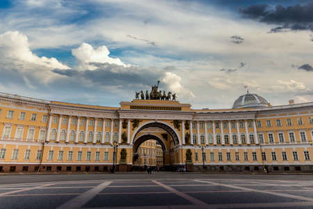 Winter Palace and Alexander Column on Palace Square in St. Petersburg. Russia.