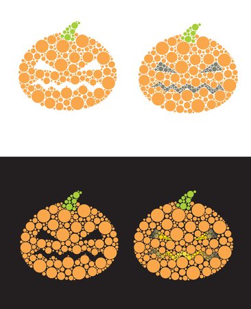 Pumpkin from small circles for Halloween Vector