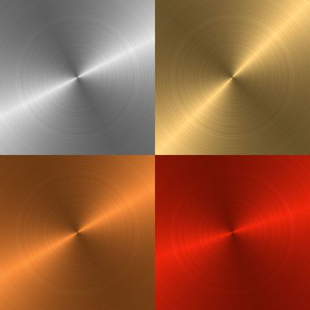 platinum metal: Four metal structures of different colours for a background