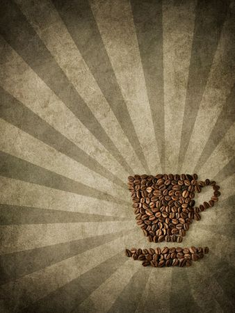 Coffee from coffee kernels on an old paper Stock Photo