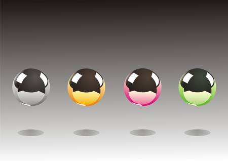 Four metal balls different colors on the background Vector