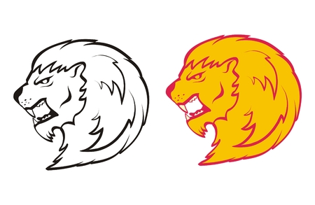 drawing the head of a lion roaring Vector