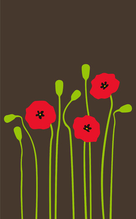 Bright red poppies on a dark background Vector