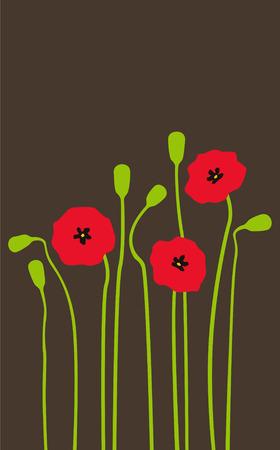 poppy field: Brillantes amapolas rojas sobre un fondo oscuro