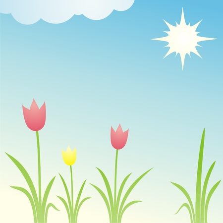 field with tulips bright sunny summer day Stock Vector - 7556222