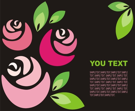 Dark background with stylized roses and green leaves