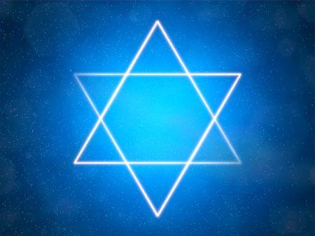 estrella de david: Estrella de David en un fondo azul entre las estrellas  Foto de archivo