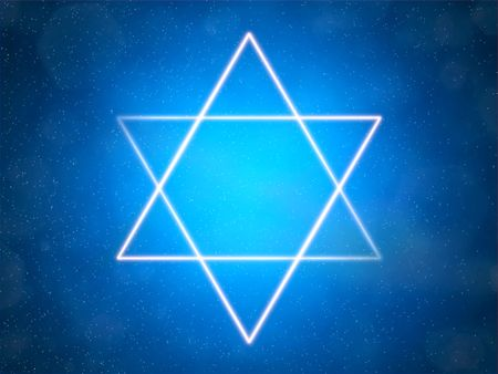 jewish culture: Star of David on a blue background among the stars