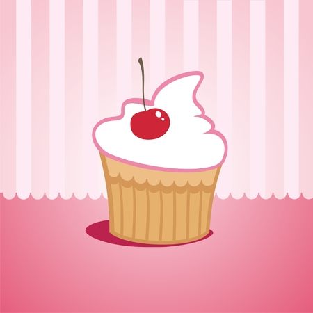 indulgence: Cake with cherries on a pink background