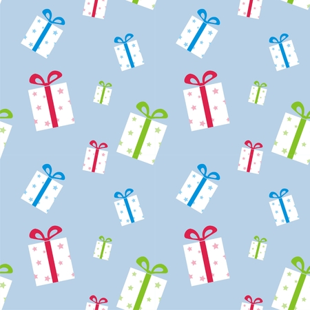 The pattern of boxes with gifts with colorful ribbons Vector