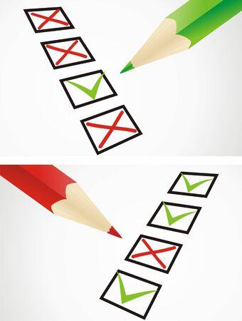 Markings in pencil in a test sheet Vector