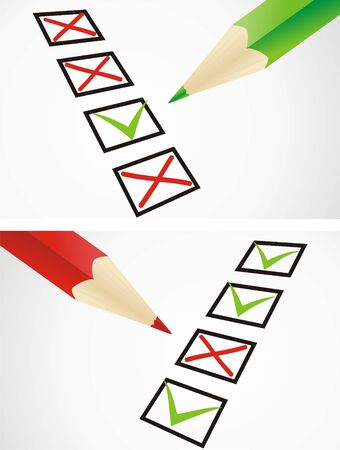 Markings in pencil in a test sheet Vektoros illusztráció