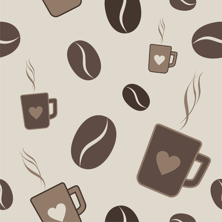 Pattern of coffee beans and cups of coffee Vector