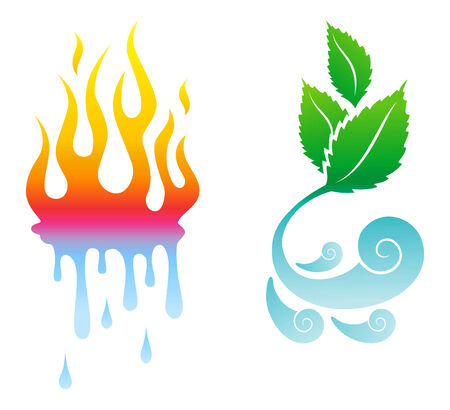 icons opposite the four natural elements Vector