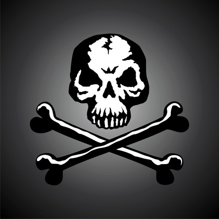 poison sign: Illustration of a skull with two bones on a dark background