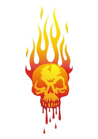 Illustration of the skull in flames with the blood flowing Vector