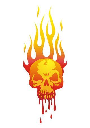 Ilustracja czaszki in flames z przepływającym krwi