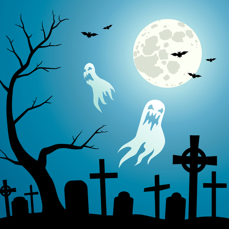 gravestone: Ghosts in the cemetery a moonlit night