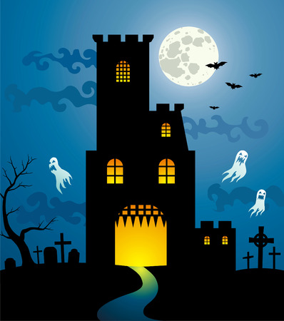 Terrific castle near the old cemetery in the moonlight Vector