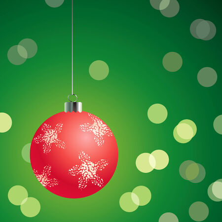 Red christmas ball on the glowing green background Stock Vector - 8031255