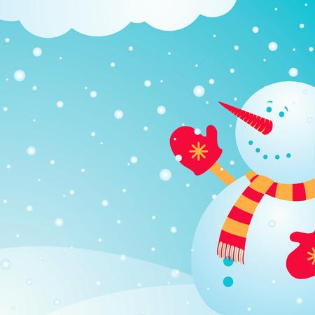 winter scene: Illustration joyful snowman on which the snow falls in winter