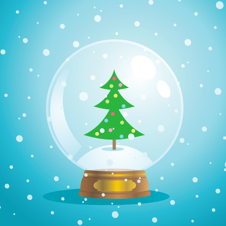 frozen glass: Christmas snow globe with a tree on a blue background