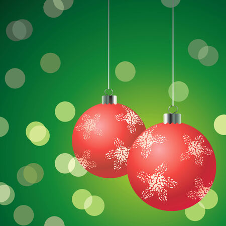 Red christmas balls on the glowing green background Stock Vector - 8200429