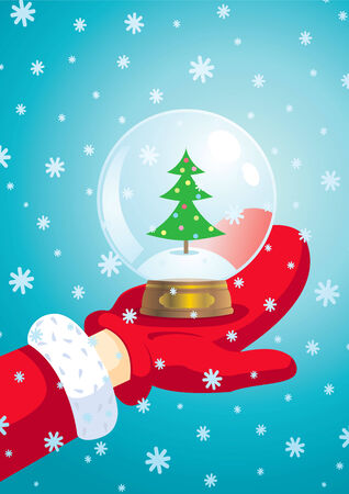 Santa Claus keeps his hand a snow ball Vector