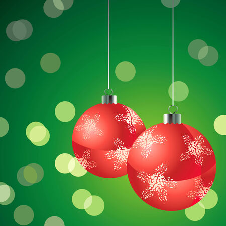 Red christmas balls on the glowing green background Vector