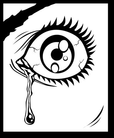 illustratie van het oog met een traan Vector Illustratie