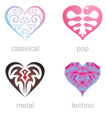 Four icons hearts of different musical styles Vector