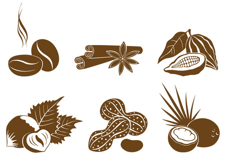 cocoa bean: Set of vector icons of dessert ingredients brown Illustration