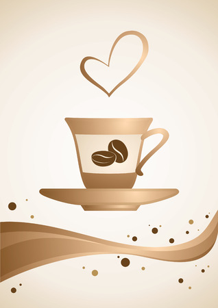 Cup of hot coffee on a beige background Vector