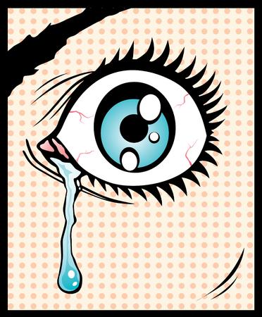 Vector illustration of the eye with a tear Vector
