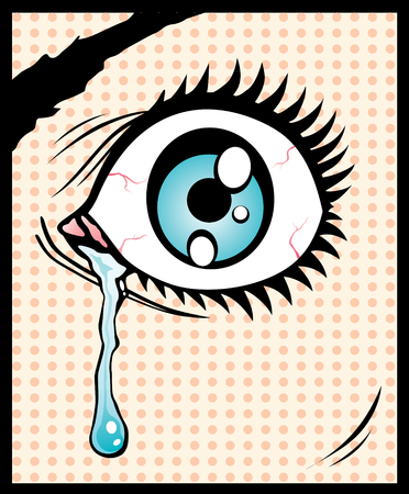 eye drops: Vector illustration of the eye with a tear Illustration