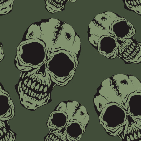 Ominous endless pattern of skulls green background Illustration