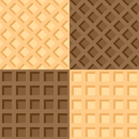 waffles: Vector illustration of four of seamless background wafers
