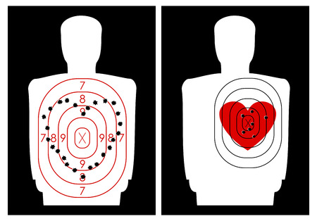 El objetivo de tiro en una silueta humana con un corazón