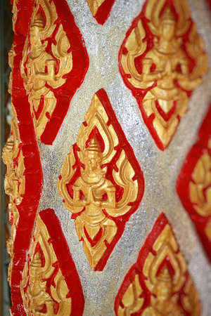 Bright column in a Buddhist temple photo