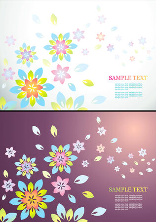 abstract background with bright flowers and leaves Stock Vector - 8793421