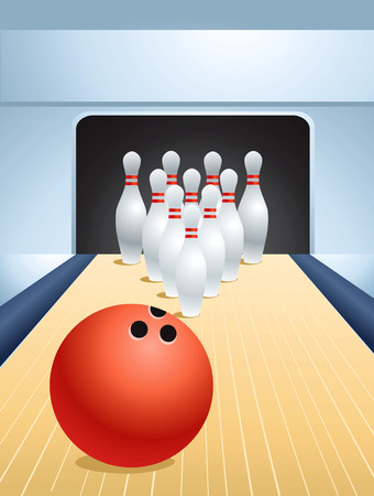 ten pin bowling: Red bowling ball smashing pins Illustration