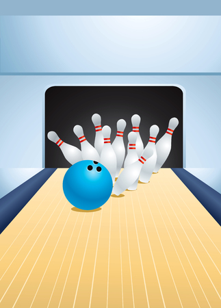 ten pin bowling: Blue bowling ball smashing pins Illustration
