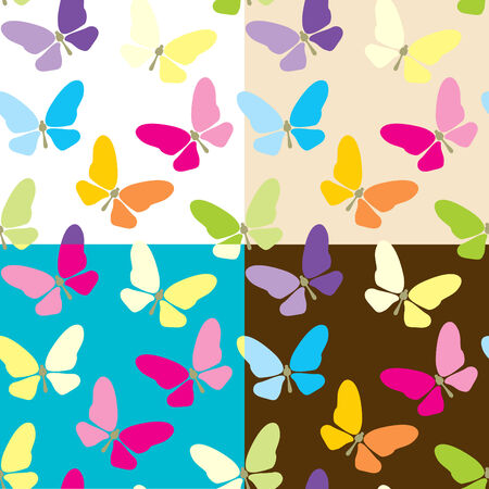 Set of four colored seamless background with butterflies Vector
