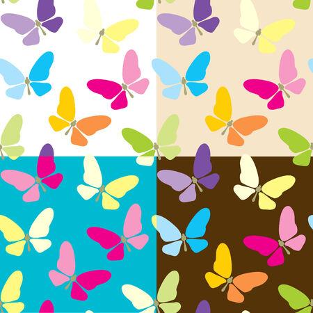 Ensemble de quatre arrière-plan transparent coloré avec des papillons